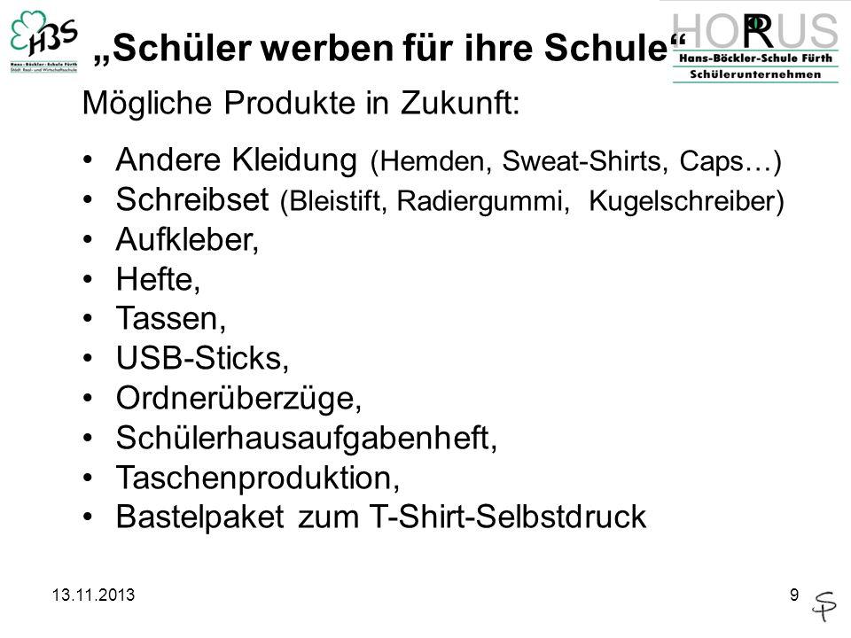 13.11.20139 Mögliche Produkte in Zukunft: Andere Kleidung (Hemden, Sweat-Shirts, Caps…) Schreibset (Bleistift, Radiergummi, Kugelschreiber) Aufkleber,