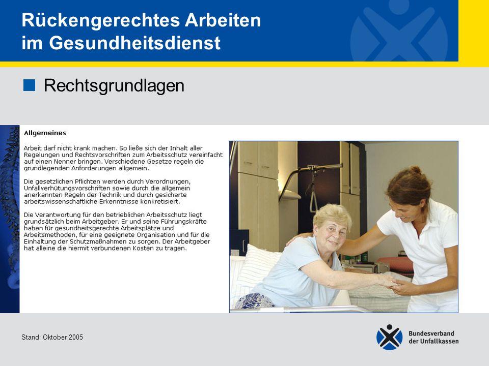 Rechtsgrundlagen Allgemeines 1/2 Stand: Oktober 2005 Rückengerechtes Arbeiten im Gesundheitsdienst Rechtsgrundlagen