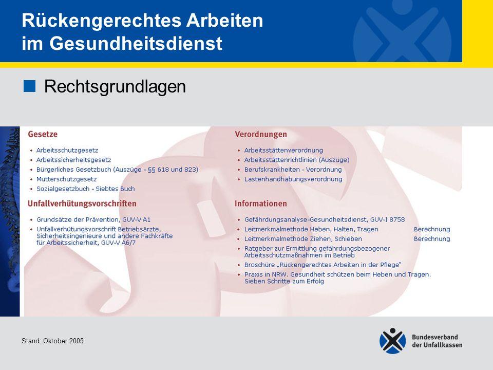 Rechtsgrundlagen Übersicht Stand: Oktober 2005 Rückengerechtes Arbeiten im Gesundheitsdienst Rechtsgrundlagen