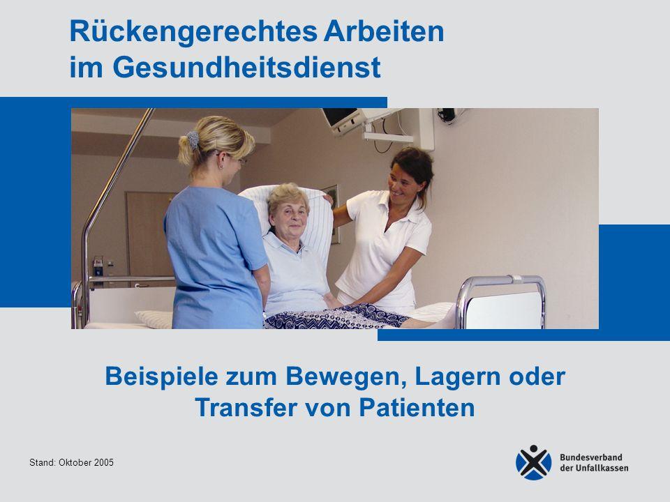Stand: Oktober 2005 Rückengerechtes Arbeiten im Gesundheitsdienst Beispiele zum Bewegen, Lagern oder Transfer von Patienten