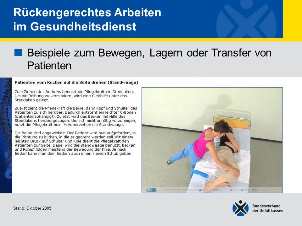 Beispiele zum Bewegen, Lagern oder Transfer von Patienten Patienten vom Rücken auf die Seite drehen (Standwaage) Stand: Oktober 2005 Rückengerechtes A