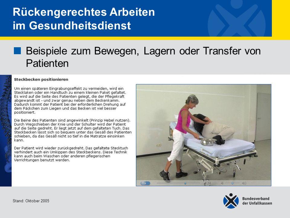 Beispiele zum Bewegen, Lagern oder Transfer von Patienten Steckbecken positionieren Stand: Oktober 2005 Rückengerechtes Arbeiten im Gesundheitsdienst