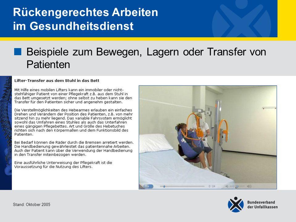 Beispiele zum Bewegen, Lagern oder Transfer von Patienten Lifter-Transfer aus dem Stuhl in das Bett Stand: Oktober 2005 Rückengerechtes Arbeiten im Ge