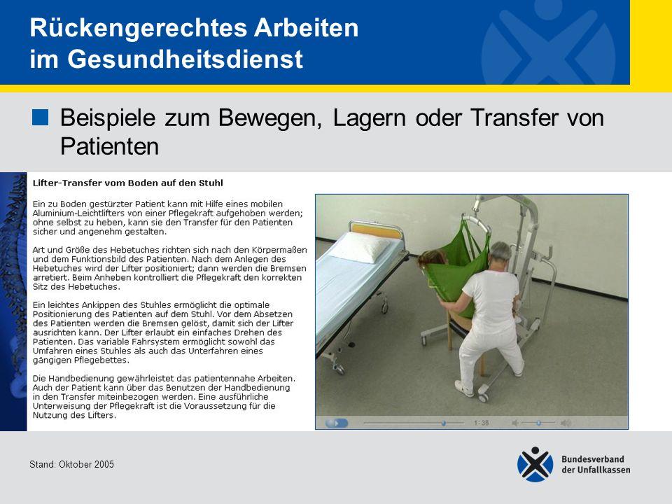 Beispiele zum Bewegen, Lagern oder Transfer von Patienten Lifter-Transfer vom Boden auf den Stuhl Stand: Oktober 2005 Rückengerechtes Arbeiten im Gesu
