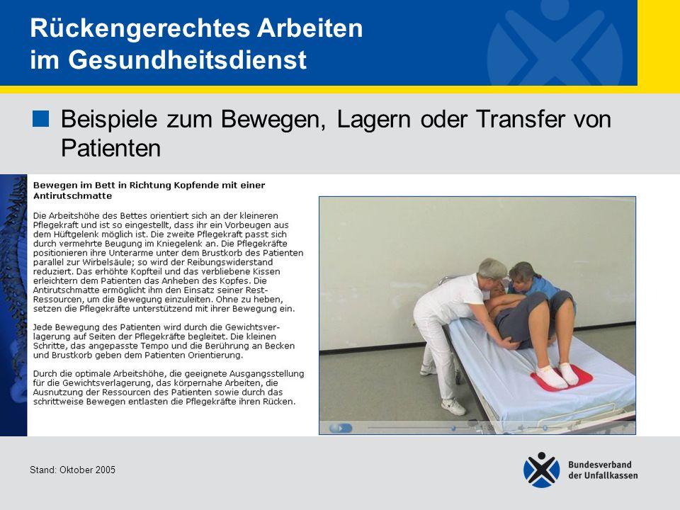 Beispiele zum Bewegen, Lagern oder Transfer von Patienten Bewegen im Bett in Richtung Kopfende mit einer Antirutschmatte Stand: Oktober 2005 Rückenger