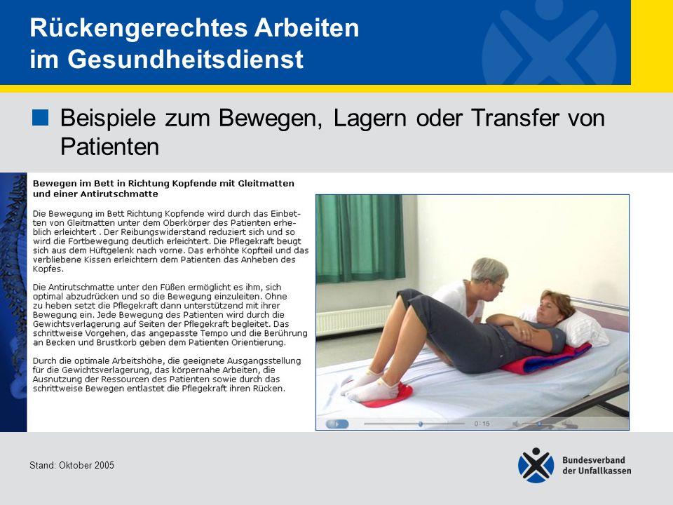 Beispiele zum Bewegen, Lagern oder Transfer von Patienten Bewegen im Bett in Richtung Kopfende mit Gleitmatten und einer Antirutschmatte Stand: Oktobe