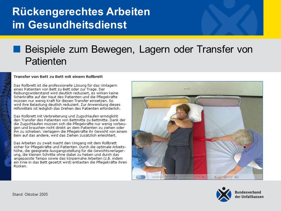 Beispiele zum Bewegen, Lagern oder Transfer von Patienten Transfer von Bett zu Bett mit einem Rollbrett Stand: Oktober 2005 Rückengerechtes Arbeiten i
