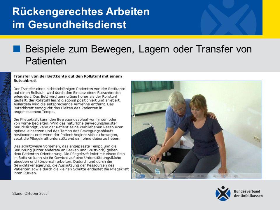 Beispiele zum Bewegen, Lagern oder Transfer von Patienten Transfer von der Bettkante auf den Rollstuhl mit einem Rutschbrett Stand: Oktober 2005 Rücke