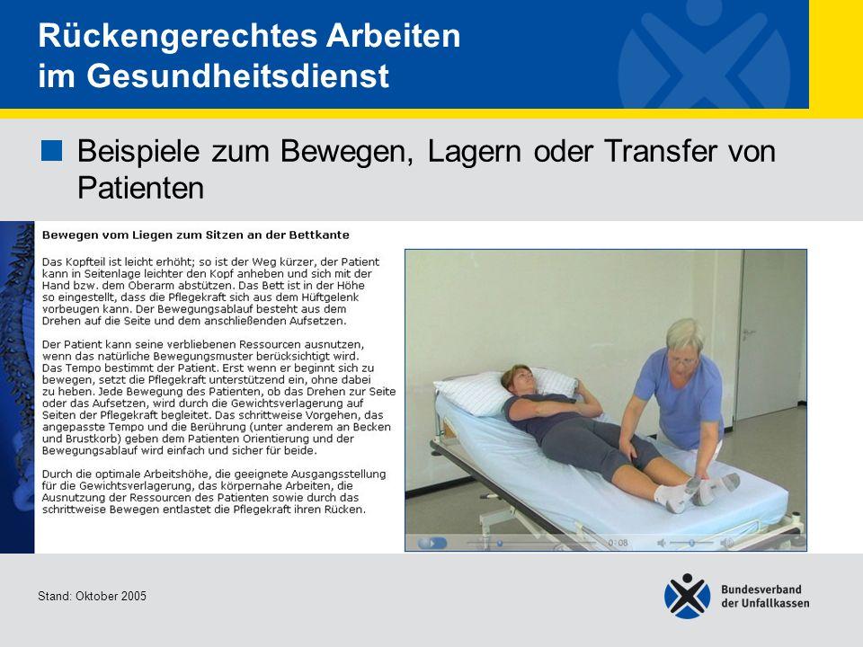 Beispiele zum Bewegen, Lagern oder Transfer von Patienten Bewegen vom Liegen zum Sitzen an der Bettkante Stand: Oktober 2005 Rückengerechtes Arbeiten