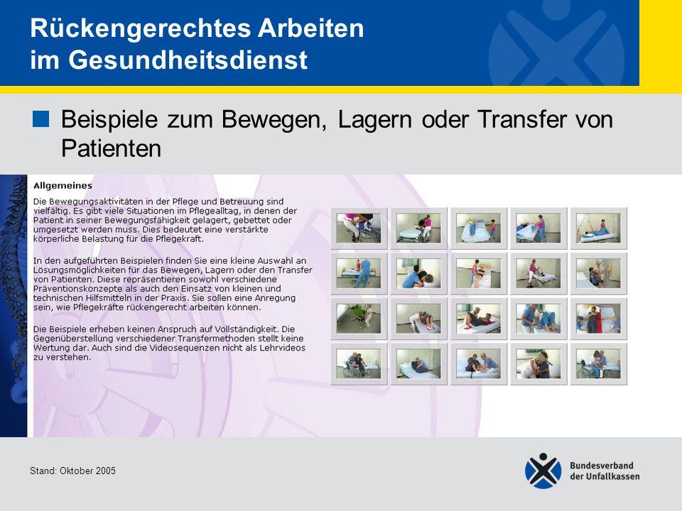 Beispiele zum Bewegen, Lagern oder Transfer von Patienten Allgemeines Stand: Oktober 2005 Rückengerechtes Arbeiten im Gesundheitsdienst Beispiele zum