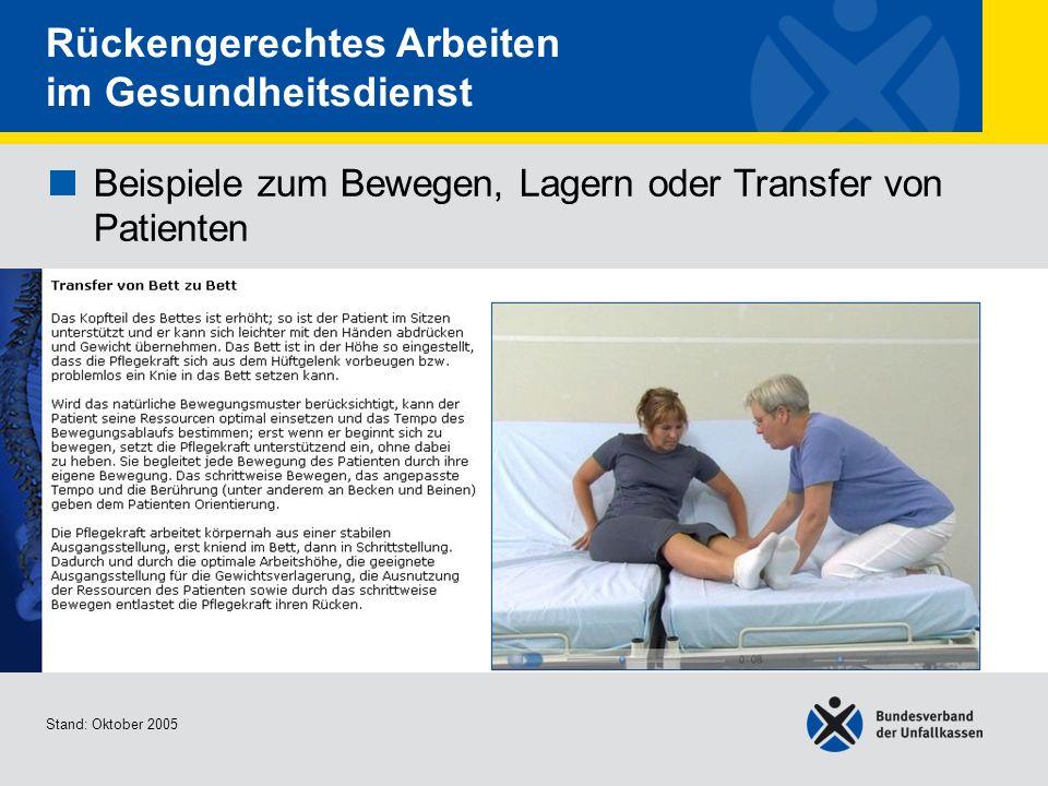 Beispiele zum Bewegen, Lagern oder Transfer von Patienten Transfer von Bett zu Bett Stand: Oktober 2005 Rückengerechtes Arbeiten im Gesundheitsdienst