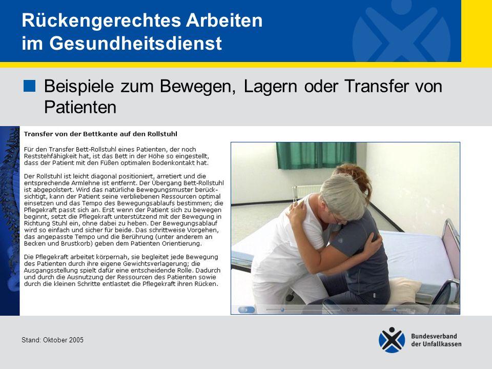 Beispiele zum Bewegen, Lagern oder Transfer von Patienten Transfer von der Bettkante auf den Rollstuhl Stand: Oktober 2005 Rückengerechtes Arbeiten im
