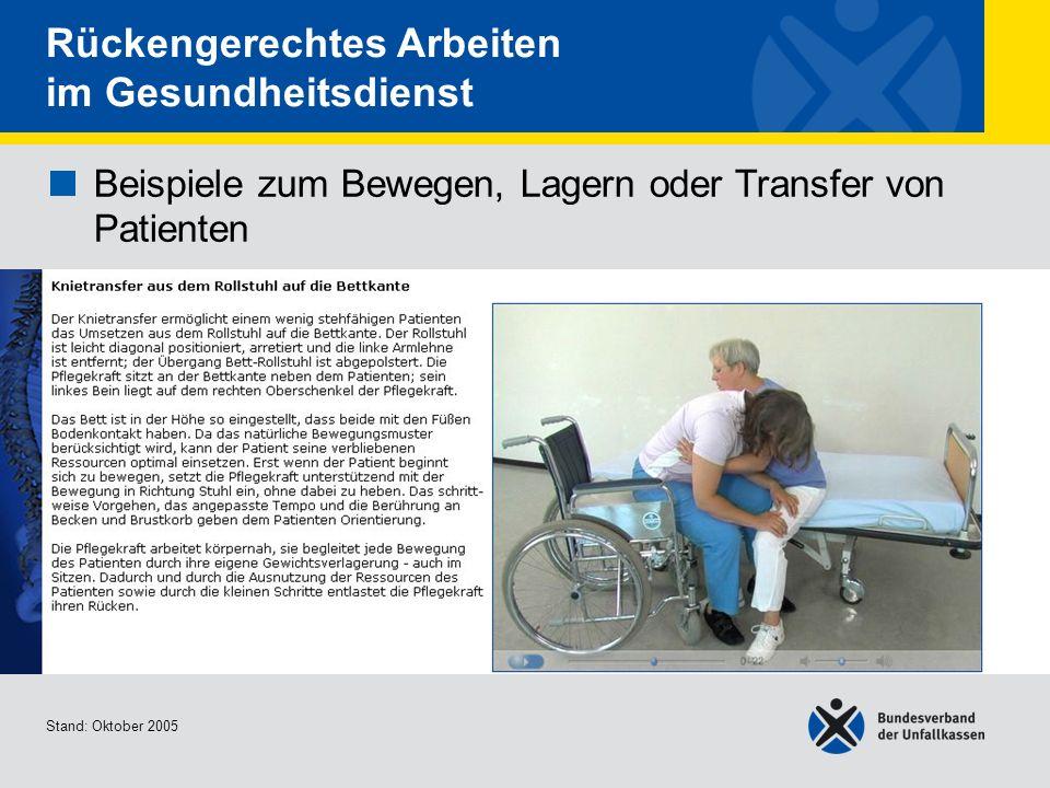 Beispiele zum Bewegen, Lagern oder Transfer von Patienten Knietransfer aus dem Rollstuhl auf die Bettkante Stand: Oktober 2005 Rückengerechtes Arbeite