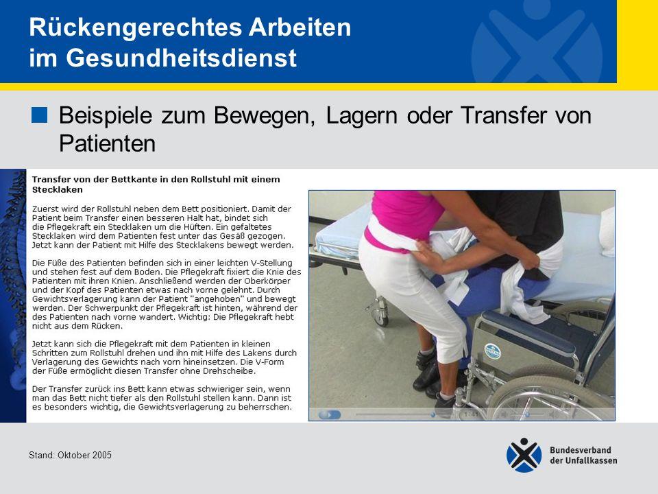 Beispiele zum Bewegen, Lagern oder Transfer von Patienten Transfer von der Bettkante in den Rollstuhl mit einem Stecklaken Stand: Oktober 2005 Rückeng