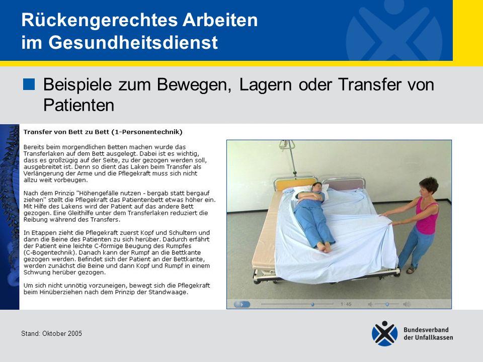 Beispiele zum Bewegen, Lagern oder Transfer von Patienten Transfer von Bett zu Bett (1- Personentechnik) Stand: Oktober 2005 Rückengerechtes Arbeiten