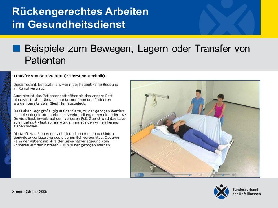 Beispiele zum Bewegen, Lagern oder Transfer von Patienten Transfer von Bett zu Bett (2- Personentechnik) Stand: Oktober 2005 Rückengerechtes Arbeiten