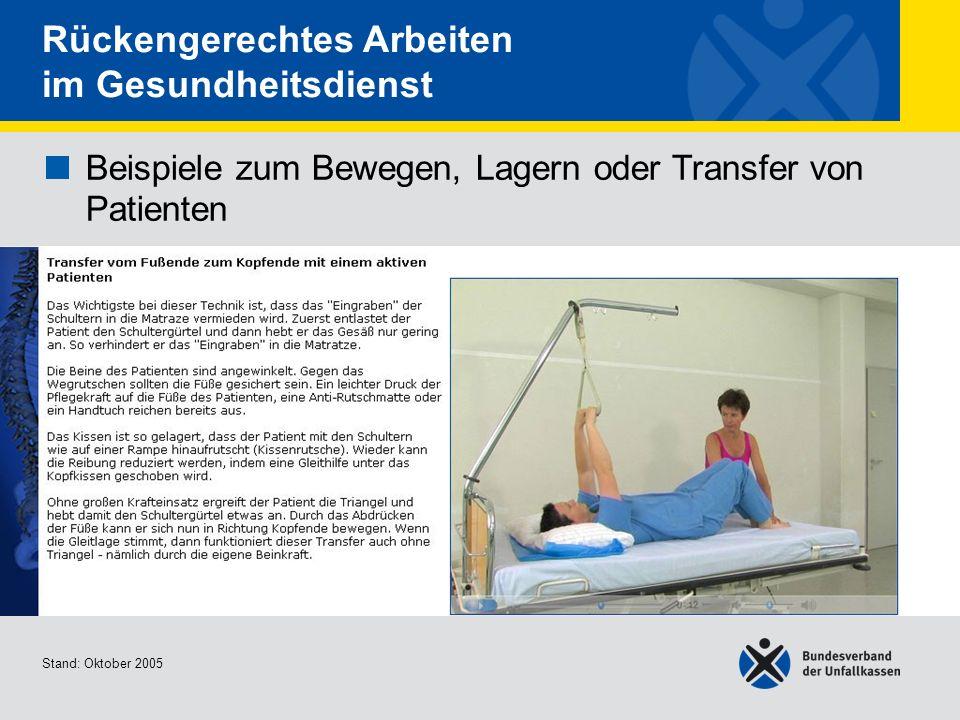 Beispiele zum Bewegen, Lagern oder Transfer von Patienten Transfer vom Fußende zum Kopfende mit einem aktiven Patienten Stand: Oktober 2005 Rückengere