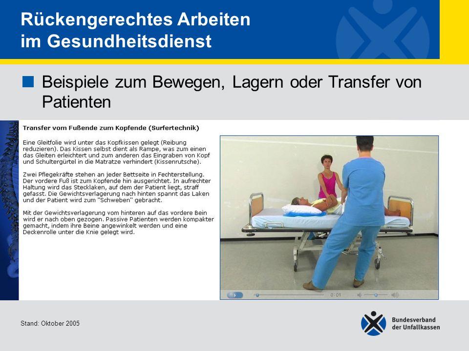 Beispiele zum Bewegen, Lagern oder Transfer von Patienten Transfer vom Fußende zum Kopfende (Surfertechnik) Stand: Oktober 2005 Rückengerechtes Arbeit
