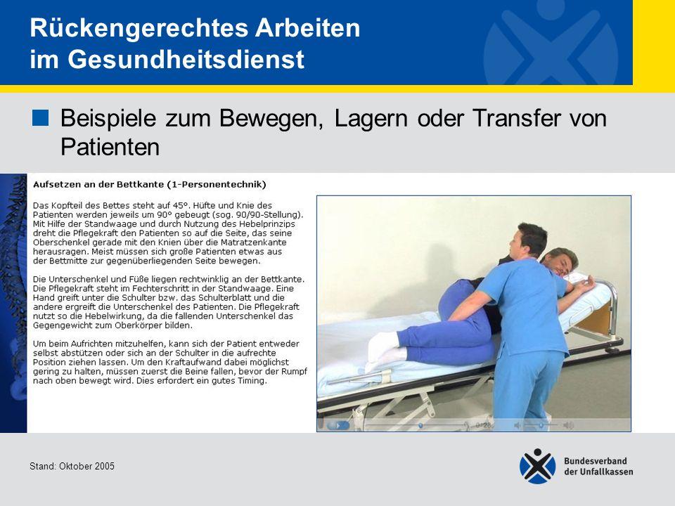 Beispiele zum Bewegen, Lagern oder Transfer von Patienten Aufsetzen an der Bettkante (1- Personentechnik) Stand: Oktober 2005 Rückengerechtes Arbeiten
