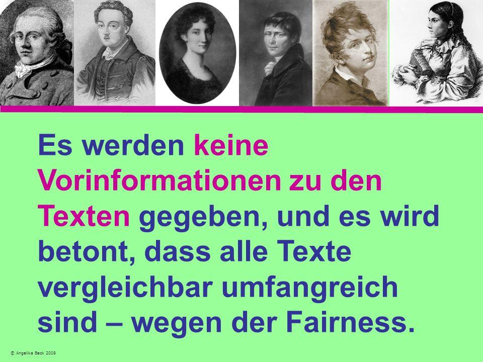 Es werden keine Vorinformationen zu den Texten gegeben, und es wird betont, dass alle Texte vergleichbar umfangreich sind – wegen der Fairness. © Ange