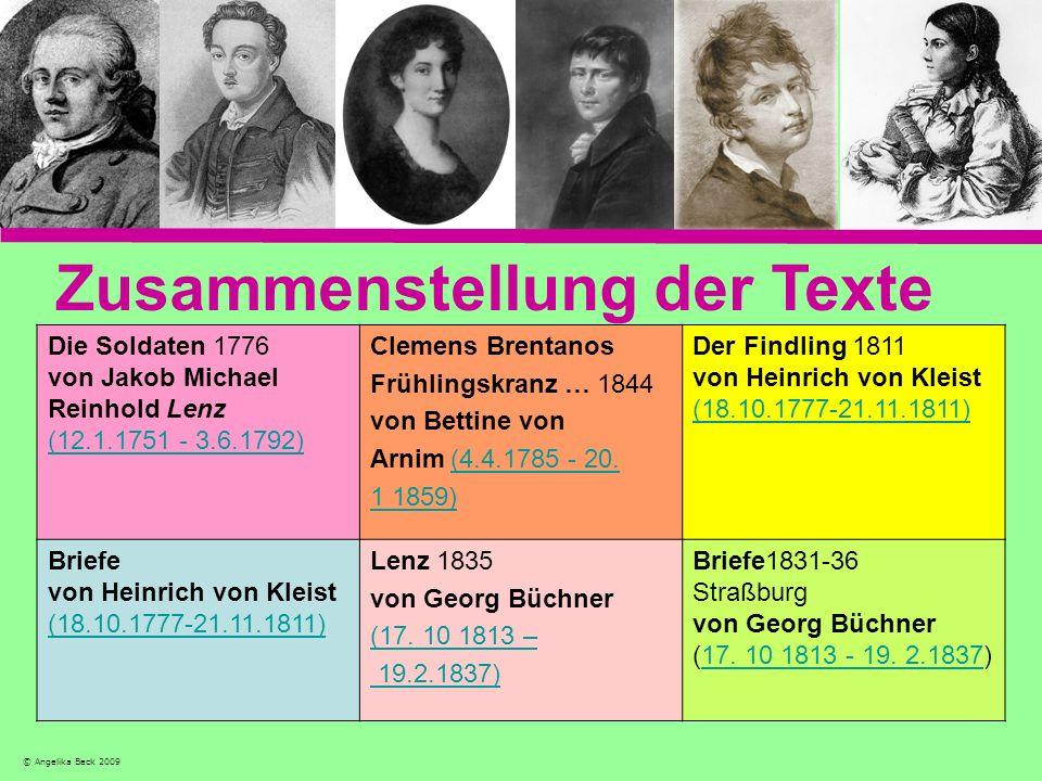 Zusammenstellung der Texte Die Soldaten 1776 von Jakob Michael Reinhold Lenz (12.1.1751 - 3.6.1792) Clemens Brentanos Frühlingskranz … 1844 von Bettin