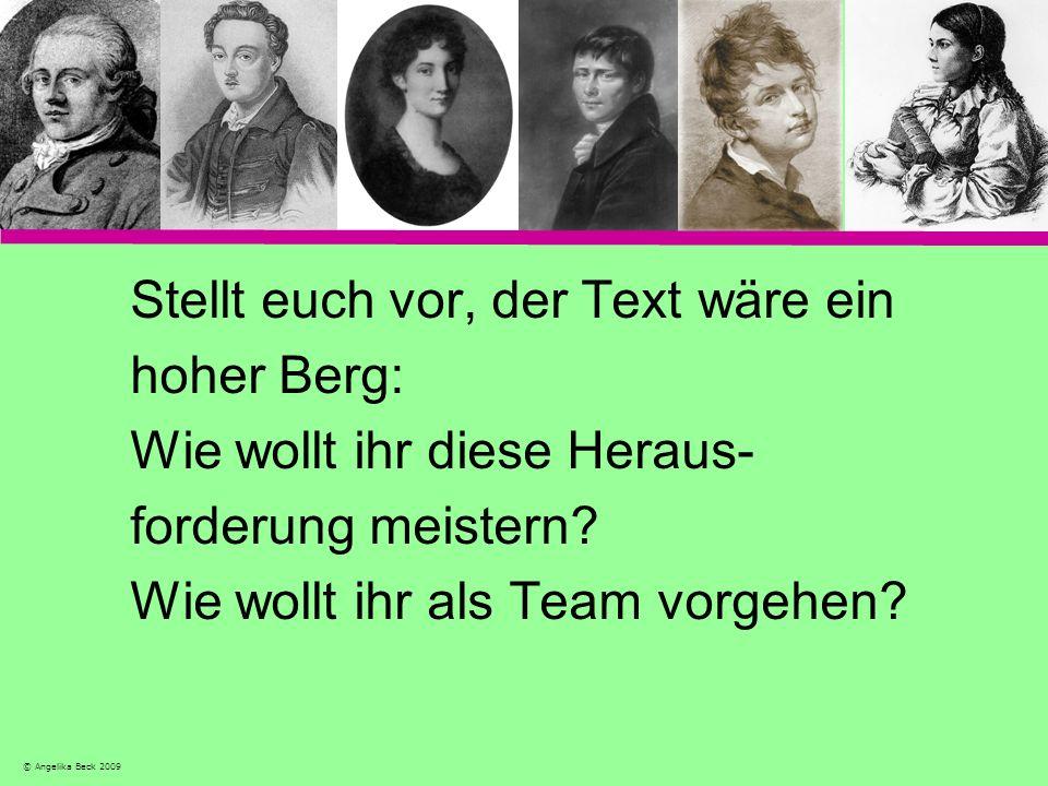 Stellt euch vor, der Text wäre ein hoher Berg: Wie wollt ihr diese Heraus- forderung meistern? Wie wollt ihr als Team vorgehen? © Angelika Beck 2009