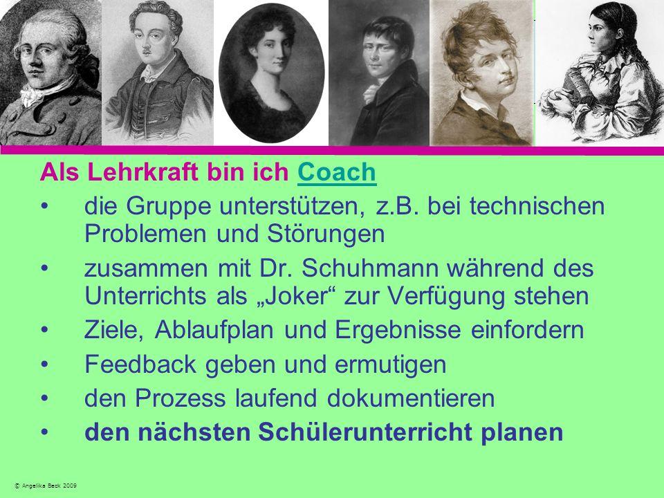 Als Lehrkraft bin ich CoachCoach die Gruppe unterstützen, z.B. bei technischen Problemen und Störungen zusammen mit Dr. Schuhmann während des Unterric
