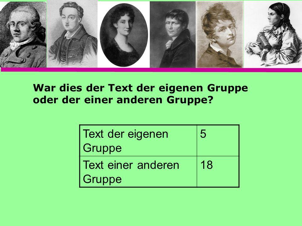 Text der eigenen Gruppe 5 Text einer anderen Gruppe 18 War dies der Text der eigenen Gruppe oder der einer anderen Gruppe?