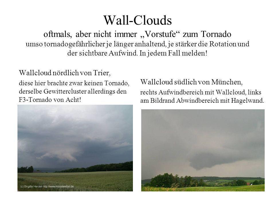 Wall-Clouds -Intensität: Entfällt. -hier nur Angaben über Dynamik wie Rotation- und Aufwinde, Größe, Aussehen und geschätzter Höhe über dem Erdboden.