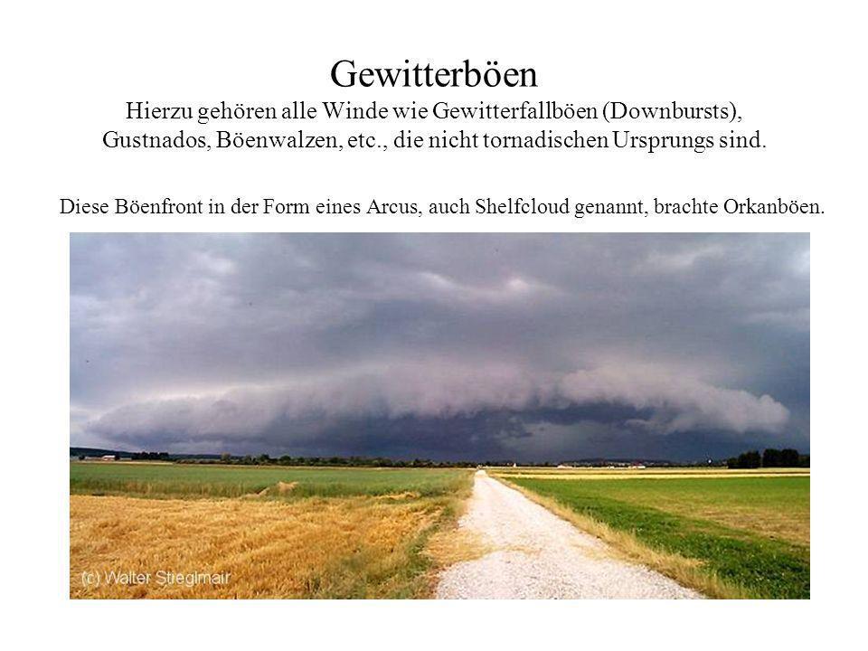 Gewitterböen Hierzu gehören alle Winde wie Gewitterfallböen (Downbursts) Gustnados, Böenwalzen, etc., die nicht tornadischen Ursprungs sind. -Intensit