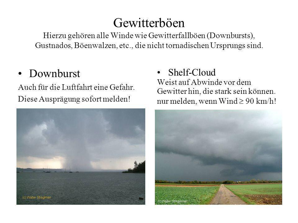 Gewitterböen Hierzu gehören alle Winde wie Gewitterfallböen (Downbursts), Gustnados, Böenwalzen, etc., die nicht tornadischen Ursprungs sind. Diese Bö