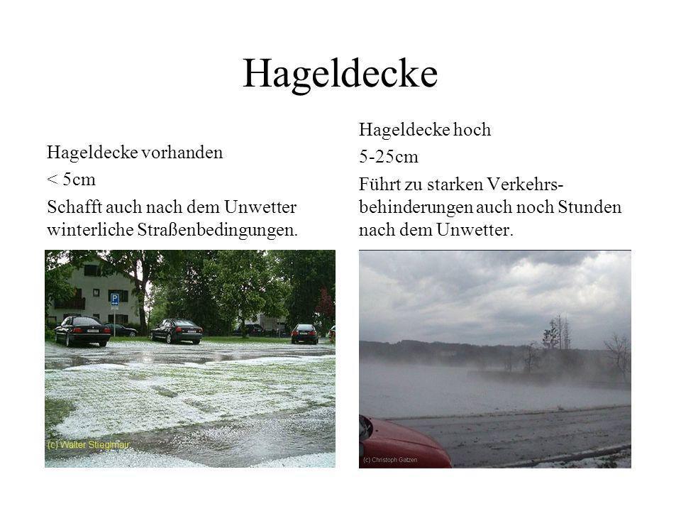 Hageldichte, Sichtweiten Dichter Hagelfall bei Osnabrück Sichtweite < 100 m Sehr dichter Hagelfall bei Rosenheim Sichtweite < 50 m