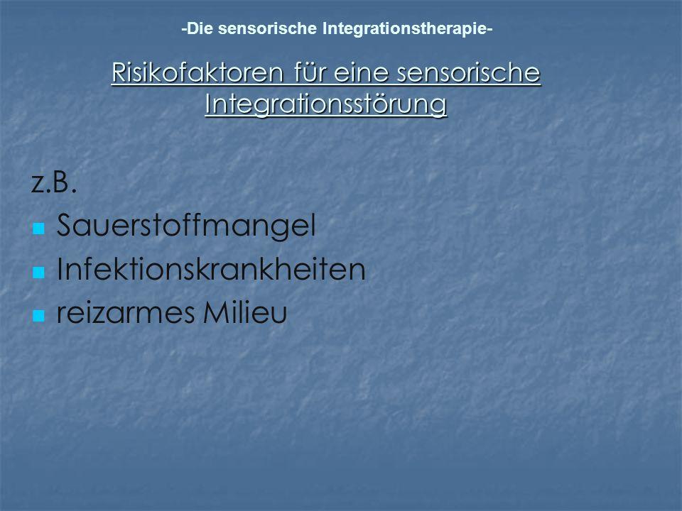 Risikofaktoren für eine sensorische Integrationsstörung z.B. Sauerstoffmangel Infektionskrankheiten reizarmes Milieu -Die sensorische Integrationsther