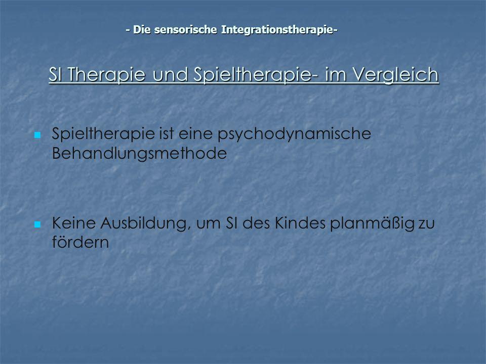 SI Therapie und Spieltherapie- im Vergleich Spieltherapie ist eine psychodynamische Behandlungsmethode Keine Ausbildung, um SI des Kindes planmäßig zu