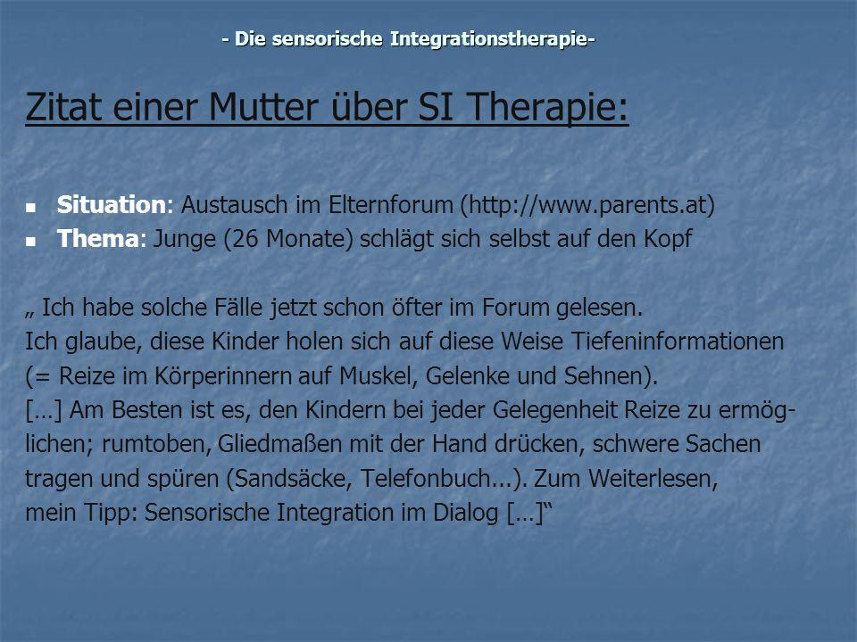 Zitat einer Mutter über SI Therapie: Situation: Austausch im Elternforum (http://www.parents.at) Thema: Junge (26 Monate) schlägt sich selbst auf den