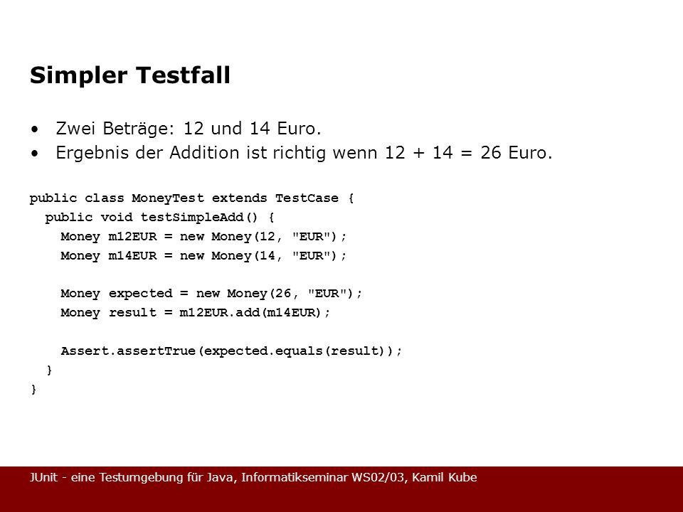 JUnit - eine Testumgebung für Java, Informatikseminar WS02/03, Kamil Kube Simpler Testfall Zwei Beträge: 12 und 14 Euro. Ergebnis der Addition ist ric