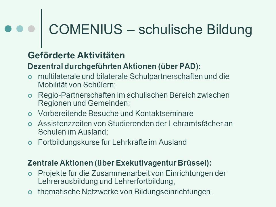 COMENIUS - Kontakt und Information Nationale Agentur im Pädagogischen Austauschdienst (NA im PAD) der Kultusministerkonferenz Graurheindorfer Str.
