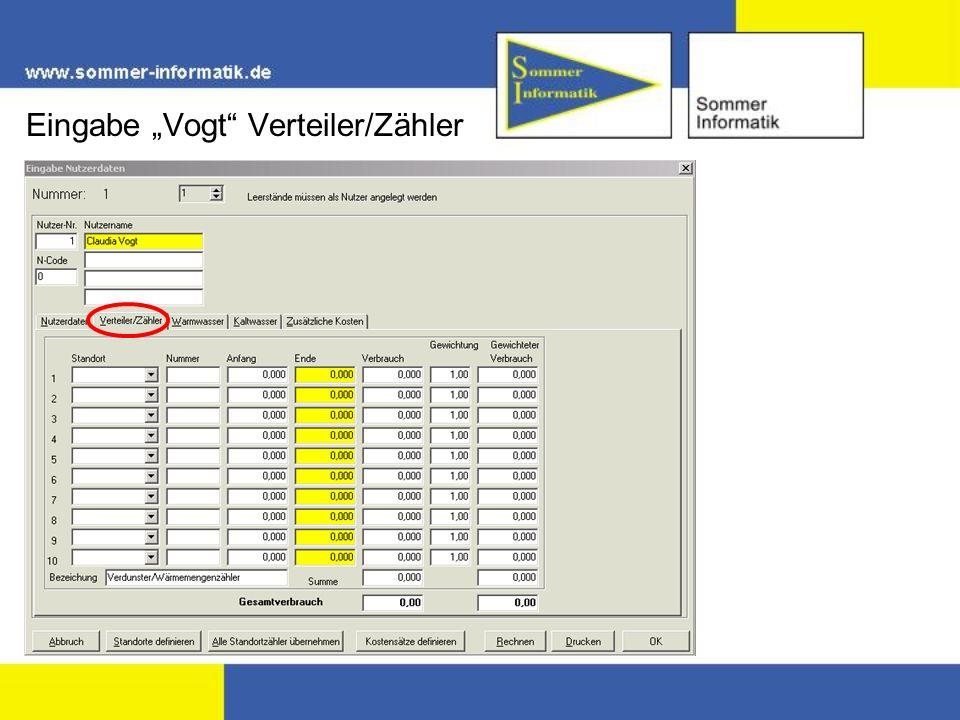 Eingabe Vogt Verteiler/Zähler