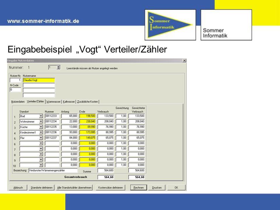 Eingabebeispiel Vogt Verteiler/Zähler