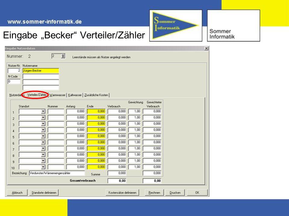 Eingabe Becker Verteiler/Zähler