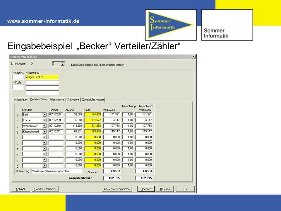 Eingabebeispiel Becker Verteiler/Zähler