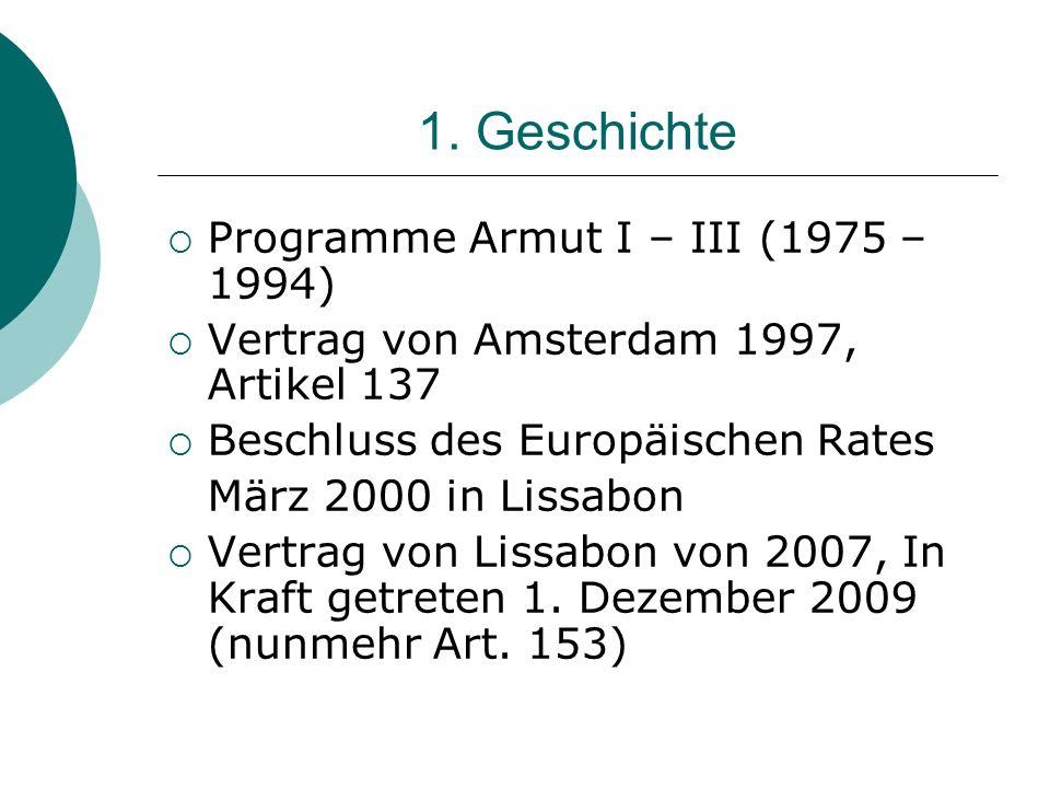 1. Geschichte Programme Armut I – III (1975 – 1994) Vertrag von Amsterdam 1997, Artikel 137 Beschluss des Europäischen Rates März 2000 in Lissabon Ver