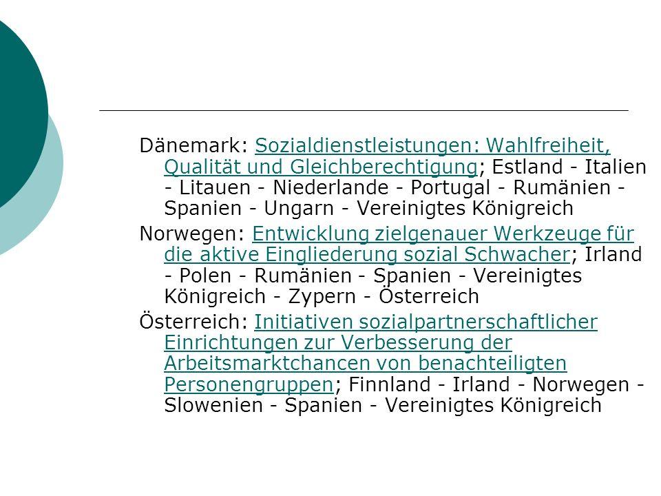 Dänemark: Sozialdienstleistungen: Wahlfreiheit, Qualität und Gleichberechtigung; Estland - Italien - Litauen - Niederlande - Portugal - Rumänien - Spanien - Ungarn - Vereinigtes KönigreichSozialdienstleistungen: Wahlfreiheit, Qualität und Gleichberechtigung Norwegen: Entwicklung zielgenauer Werkzeuge für die aktive Eingliederung sozial Schwacher; Irland - Polen - Rumänien - Spanien - Vereinigtes Königreich - Zypern - ÖsterreichEntwicklung zielgenauer Werkzeuge für die aktive Eingliederung sozial Schwacher Österreich: Initiativen sozialpartnerschaftlicher Einrichtungen zur Verbesserung der Arbeitsmarktchancen von benachteiligten Personengruppen; Finnland - Irland - Norwegen - Slowenien - Spanien - Vereinigtes KönigreichInitiativen sozialpartnerschaftlicher Einrichtungen zur Verbesserung der Arbeitsmarktchancen von benachteiligten Personengruppen
