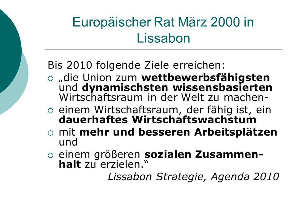 Europäischer Rat März 2000 in Lissabon Bis 2010 folgende Ziele erreichen: die Union zum wettbewerbsfähigsten und dynamischsten wissensbasierten Wirtschaftsraum in der Welt zu machen- einem Wirtschaftsraum, der fähig ist, ein dauerhaftes Wirtschaftswachstum mit mehr und besseren Arbeitsplätzen und einem größeren sozialen Zusammen- halt zu erzielen.