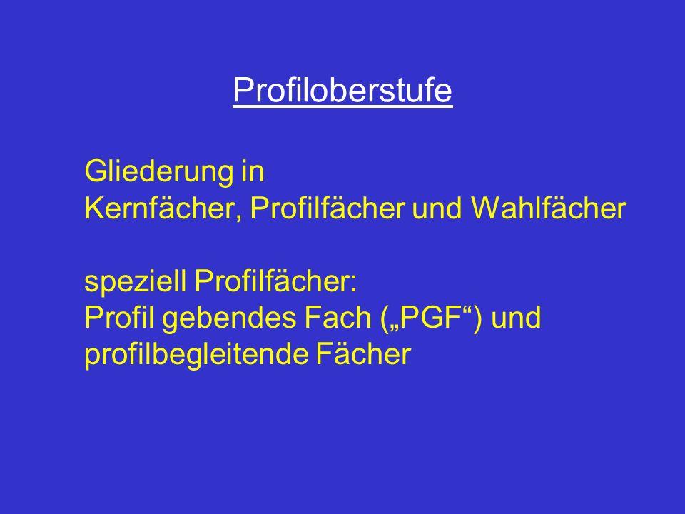 Profiloberstufe Gliederung in Kernfächer, Profilfächer und Wahlfächer speziell Profilfächer: Profil gebendes Fach (PGF) und profilbegleitende Fächer