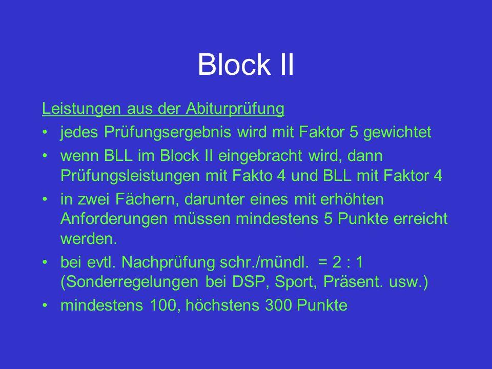 Block II Leistungen aus der Abiturprüfung jedes Prüfungsergebnis wird mit Faktor 5 gewichtet wenn BLL im Block II eingebracht wird, dann Prüfungsleist