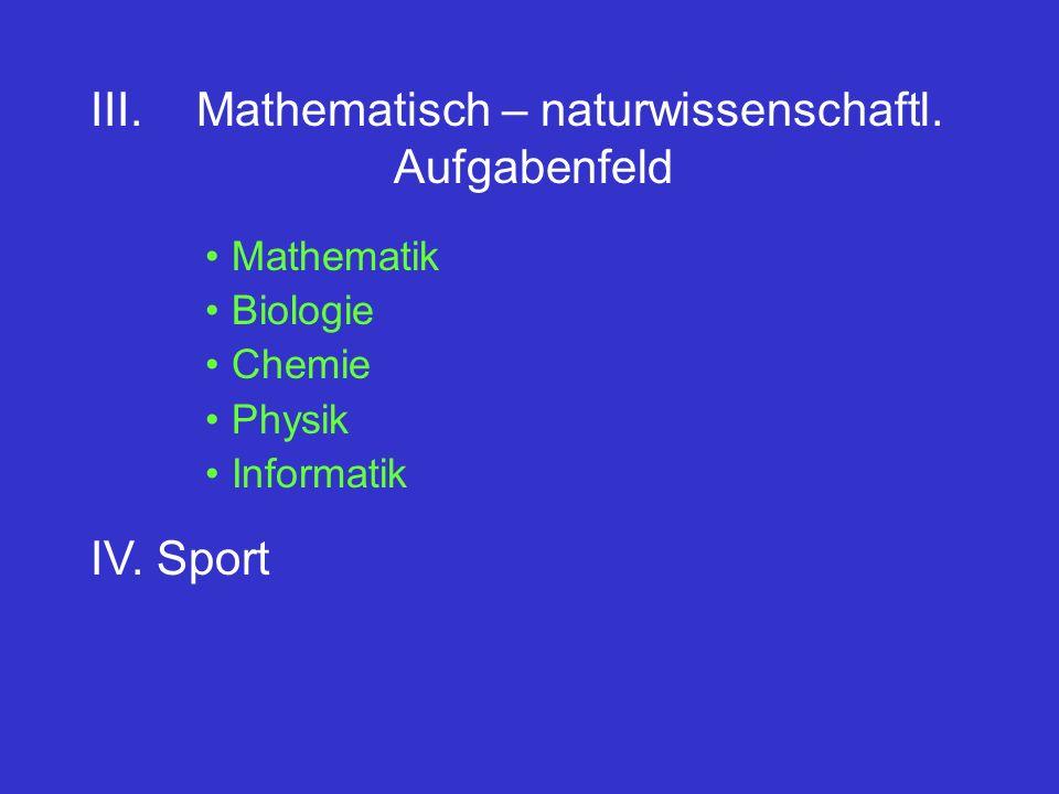 III. Mathematisch – naturwissenschaftl. Aufgabenfeld Mathematik Biologie Chemie Physik Informatik IV. Sport