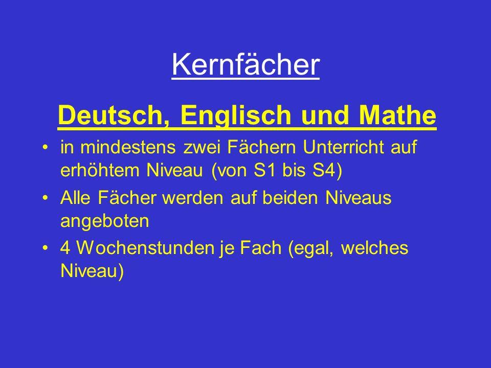 Kernfächer Deutsch, Englisch und Mathe in mindestens zwei Fächern Unterricht auf erhöhtem Niveau (von S1 bis S4) Alle Fächer werden auf beiden Niveaus