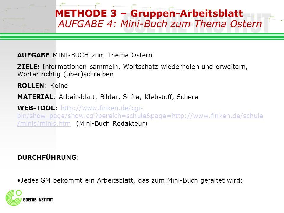 METHODE 3 – Gruppen-Arbeitsblatt AUFGABE 4: Mini-Buch zum Thema Ostern AUFGABE:MINI-BUCH zum Thema Ostern ZIELE: Informationen sammeln, Wortschatz wie
