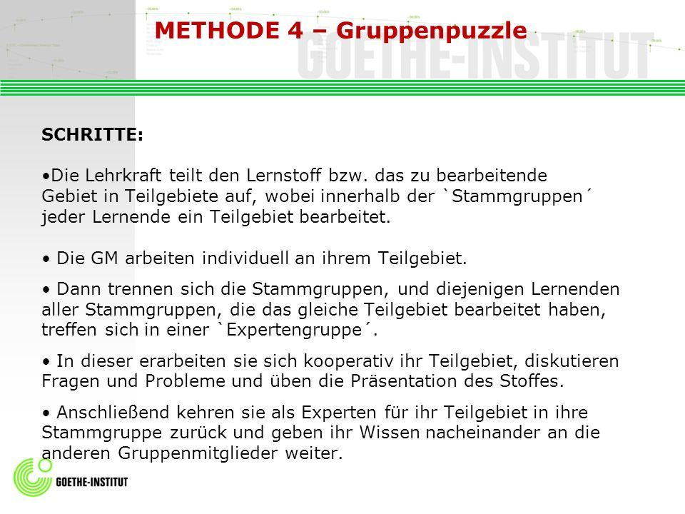 METHODE 4 – Gruppenpuzzle SCHRITTE: Die Lehrkraft teilt den Lernstoff bzw. das zu bearbeitende Gebiet in Teilgebiete auf, wobei innerhalb der `Stammgr